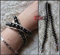 Wrapped Bracelet with Hematite Beads https://www.facebook.com/pages/Des-Noeuds-et-des-Pierres/598136326891842