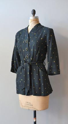 Morse Code belted blouse 1940s