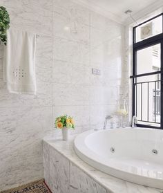 Beautiful calacatta tile in Bathroom Contemporary with next to ...
