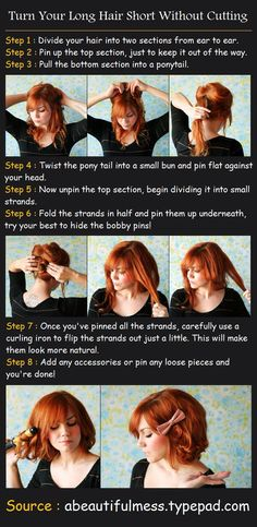 Turn your long hair short without cutting