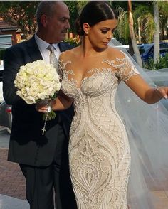 This pretty wedding dress is highly embellished. - This pretty wedding dress is highly embellished. Custom Wedding Dress, Sexy Wedding Dresses, Designer Wedding Dresses, Wedding Attire, Bridal Dresses, Wedding Gowns, Bridesmaid Dresses, Couture Dresses, Modest Wedding