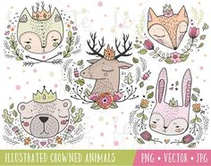 Cute Hand Drawn Forest Animals, Forest Animals with Crowns, Hand Drawn Woodland Animals, Woodland Creatures Portraits, Cat Fox Bear Deer Forest Animals, Woodland Animals, Crow Spirit Animal, Branding, Woodland Creatures, Art Plastique, Animal Drawings, Animal Illustrations, Pet Portraits