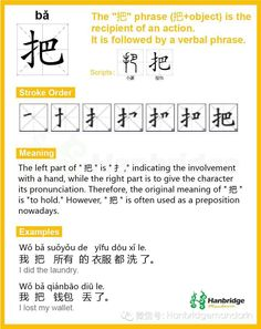 "Hanbridge Mandarin Study Card--Chinese character ""把"", the common phrase is ""把握"" (grasp)"