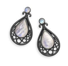 Oxidized Pear Rainbow Moonstone Earrings