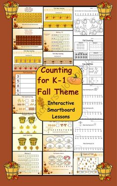 Counting for Fall Theme Interactive Smartboard Lessons Fun Fall Activities, Counting Activities, Kindergarten Math, Teaching Math, Teaching Ideas, First Grade Classroom, Classroom Teacher, Elementary Teacher, Classroom Ideas