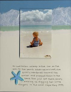 """Sweet """"Beach"""" Scrapping Layout...with journaling: Archiversonline.  Picture only for inspiration."""