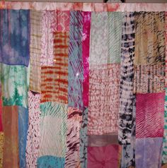 Tie Dyed 100% Silk Curtain Panels