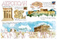 By Joaquin Gonzalez Dorao Watercolor Journal, Pen And Watercolor, Travel Sketchbook, Art Sketchbook, City Sketch, Architecture Sketchbook, Templer, Travel Maps, Travel Journals