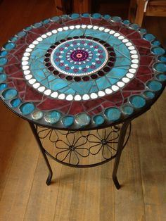 Best 12 Side Tables Mosaic table side table garden bistro table a unique product by Scherbenkiste on DaWanda Table Mosaic, Mosaic Outdoor Table, Mosaic Coffee Table, Outdoor Table Tops, Mosaic Tile Art, Mosaic Crafts, Mosaic Projects, Mosaic Glass, Round Marble Table