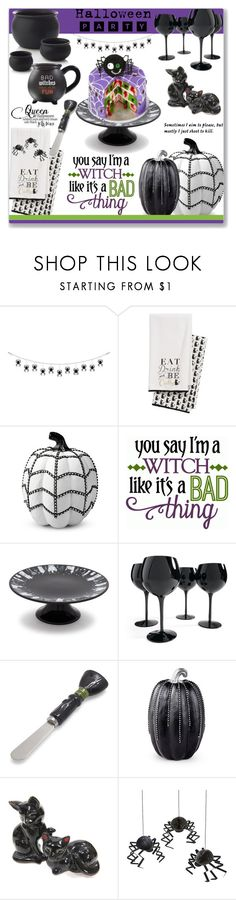 """""""Bad witches have fun"""" by mood-chic ❤ liked on Polyvore featuring interior, interiors, interior design, home, home decor, interior decorating, Levtex, Improvements, Sur La Table and Grandin Road"""