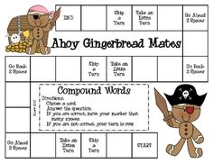 Here is a great way to practice compound words. This compound word game with a Gingerbread/Pirate theme can be used for literacy centers/stations, ...