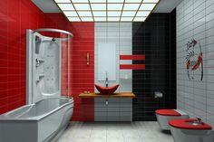 Moderne salle de bains avec rouge, blanche et noir murs.