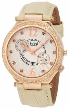 Burgi Women's BU45RG Round Swiss Quartz Diamond Classic Stainless Steel Day Date Watch Burgi. $129.00. Altogether classy, women's large timepiece is a must-have for any collection. Icon Fashion women's wristwatch by Burgi is all about stand-out style. Watch arrives in a Burgi gift box complete with a 2 year limited warranty. This watch features diamond markers for a luxurious look.. Dial with dazzling pattern makes this timepiece so exceptional.. Save 80%!