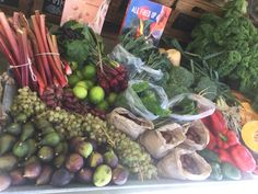 Our produce stall featuring produce from the garden open Sunday's.