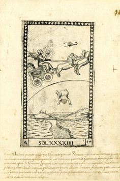 Winged male figure riding in a chariot to r; holding a sun-face; also a scorpion in the sky; below a figure falling from the sky towards a landscape with a small river; after the so-called Tarocchi Cards of Mantegna.  Engraving
