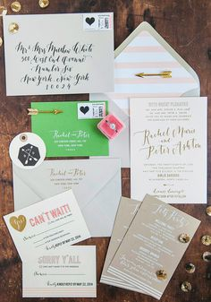 Gold Foil & Calligraphy Wedding Invitations