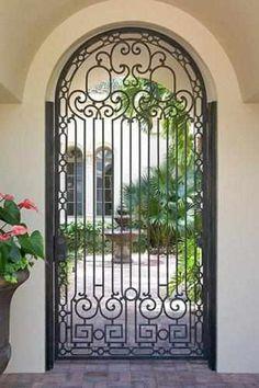 Courtyard Gates courtyard - Iron Doors, Steel Doors & Windows by Cantera Doors Iron Front Door, Front Gates, Entrance Gates, Iron Doors, Entry Doors, Wrought Iron Decor, Wrought Iron Gates, Gate Design, Door Design