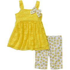Healthtex Baby Girls' 2-Piece Lace Tunic and Printed Bike Shorts Set