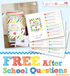 Free printable after school questions - conversation starters to get your kids talking after school : ). Because getting any details from my after school is like pulling teeth. School Teacher, School Fun, School Days, Back To School, After School, First Day Of School, Craft Activities For Kids, Learning Activities, Kids Learning