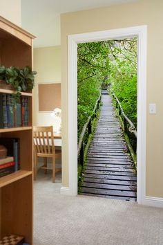 Wood Path Through Tropical Forest Door Mural 3d Flooring, Flooring For Stairs, Stair Stickers, Door Stickers, Door Murals, Mural Wall Art, Door Design, Wall Design, Wood Path