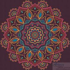 Artecy Cross Stitch. Ornamental Mandala Cross Stitch Pattern to print online.