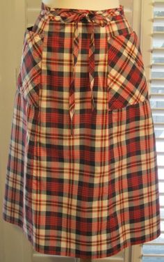 Vintage 1970s Red Plaid Wrap Skirt Free Shipping by GoodBuyForNow on Etsy