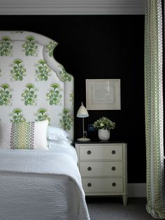 haymarket hotel, Katie Ridder: I like the upholstered botanical print headboard against the black background. It makes the room fresh without detracting from the almost monochrome look.  Reminds me of the type of botanical posters I like.