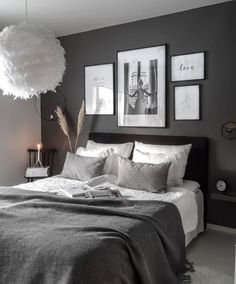 Black And Grey Bedroom, Black Bedroom Design, Grey Bedroom Decor, Bedroom Setup, Stylish Bedroom, Room Ideas Bedroom, Home Bedroom, Black Rooms, Cozy Room