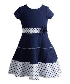 Look at this Sweet Heart Rose Navy Skater Dress - Toddler & Girls on #zulily today!