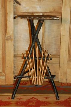 Twig table is a wonderful piece of vintage Americana. Top surface made from a… Sticks And Stones, Rustic Table, Custom Furniture, Drafting Desk, Crates, Label, Surface, Gardening, Fruit