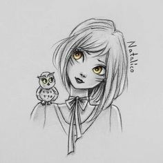 Girl and owl by natalico Art Drawings Sketches, Cute Drawings, Amazing Drawings, Amazing Art, Pretty Art, Cartoon Art, Love Art, Art Inspo, Painting & Drawing