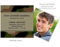 Take Note Designs Camo Army green Digital Photo Mini Graduation Open House invite