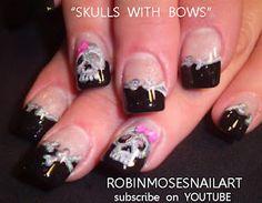 Nail-art by Robin Moses skulls and bows http://www.youtube.com/watch?v=6oL1L0cDXKU