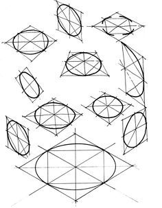 Drawing Techniques ellipses - Circles can be easily drawn with a compass. But you can also draw a freehand circle by using your hand as the compass as indicated in the bottom pictures. Place your thumb on the paper. Hold the pe… Basic Sketching, Basic Drawing, Technical Drawing, Drawing Tips, Circle Drawing, Perspective Drawing Lessons, Perspective Art, Isometric Drawing, Object Drawing