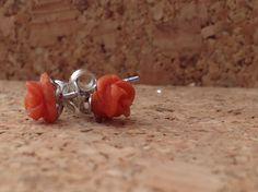 Rosselline Corallium rubrum argento 925 su 1000 anallergici, incisi a mano, garanzia e astuccio regalo. Produzione Sanna Gioielli