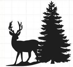 Silhouet Kerstboom met rendier
