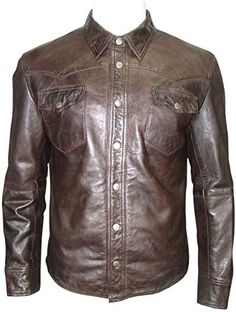 Infinity Men/'s Trucker Slim Fit Casual Burgundy Leather Shirt Jeans Jacket