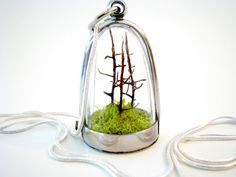 Forest and Moss Terrarium Necklace  These one-of-a-kind terrarium necklaces are meticulously created out of natural materials and no water or care are needed. Sold on Etsy.