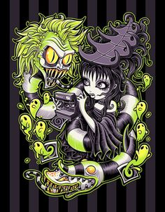 Strange and Usual by Jehsee Beetlejuice Halloween Canvas Art...
