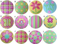 Spring Blooms Colorfull Hand Painted Wood Drawer Knob Choose Your Designs