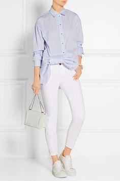 Victoria, Victoria Beckham | Bow-embellished striped cotton-poplin shirt | NET-A-PORTER.COM