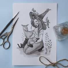 Wild Animals 835347430865281647 - Day Veterinary Witch 🐈 She always goes to the forest to take care of the wild animals. Thank you so much for all the birthday's wishes! Love you guys! Art And Illustration, Illustrations, Amazing Drawings, Cool Drawings, Witch Drawing, Drawing Artist, Character Art, Character Design, Desenhos Harry Potter