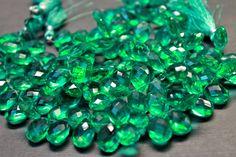 AAA emerald green quartz gemstone briolette by GemstonebyPM, $13.00
