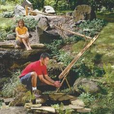 How to Build a Bamboo Water Feature: Here's a water garden that's different! Bamboo is used for a water spout and sluices, ending up in a small pond.