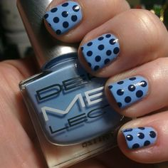 Lovin this blue combo! #DERMELECT in #aboveit dots in navy blue acrylic paint #44brebre