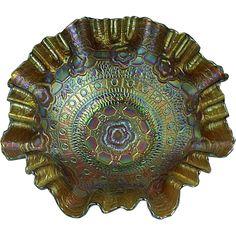 Antique 8 1/2' Fenton Captive Rose Carnival Glass Bowl Horshound (Amber) Ca.1905