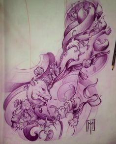 Projekt rekawa dla @alexprettyhousetattoo , artystki z Czarnogory. Motywem Kitsune omijamy bark, gdzie znajduje sie juz stary tatuaz. @polandtattoos @worldfamousink @fkirons @japanesetattoo @japanesetattooart @irezumicollective @tattooistartmag @inkedmag @skinart_mag @tf_mag @art.japan @tattoolifemagazine @crazyytattoos