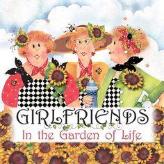 Girl friends in the garden of life.