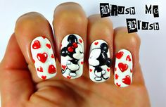 Minnie and Mickey Mouse valentine nails Minnie Mouse Nails, Mickey Mouse Nails, 3d Nails, Love Nails, Pretty Nails, Valentine Nail Art, Sparkle Nails, Cute Nail Art, Super Nails