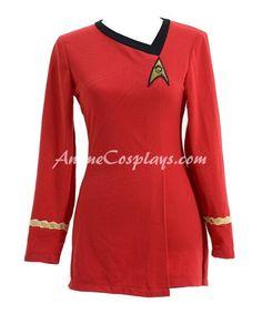 Star Trek Costume Cotton Female Duty Uniform Red